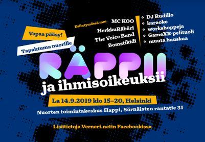 Räppii ja ihmisoikeuksii Helsingissä 14. syyskuuta